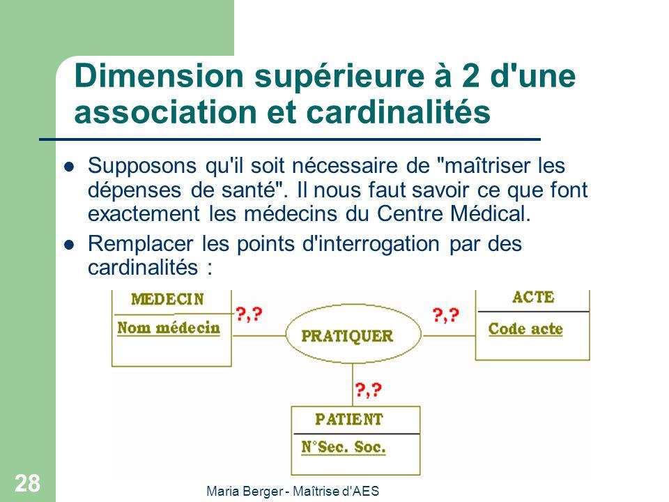Dimension supérieure à 2 d une association et cardinalités