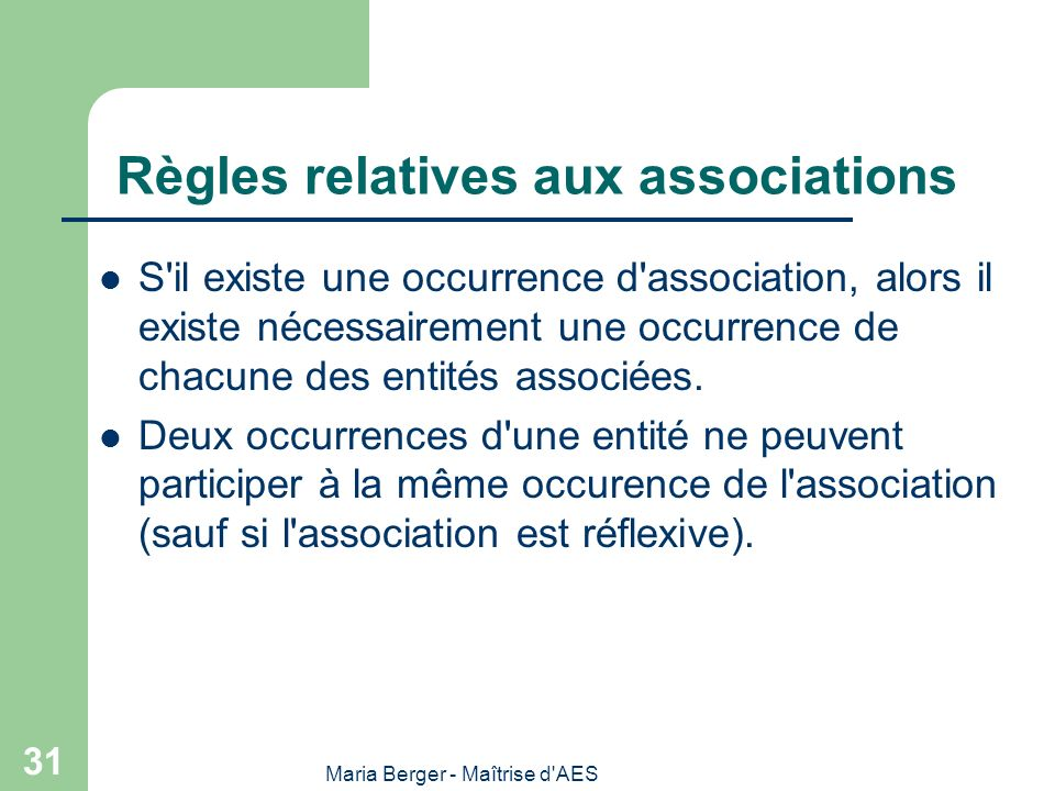 Règles relatives aux associations