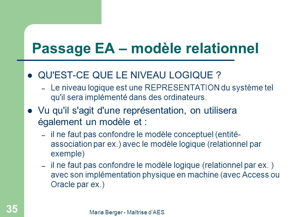 Passage EA – modèle relationnel