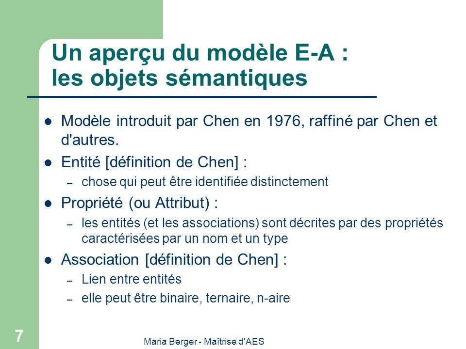 Un aperçu du modèle E-A : les objets sémantiques