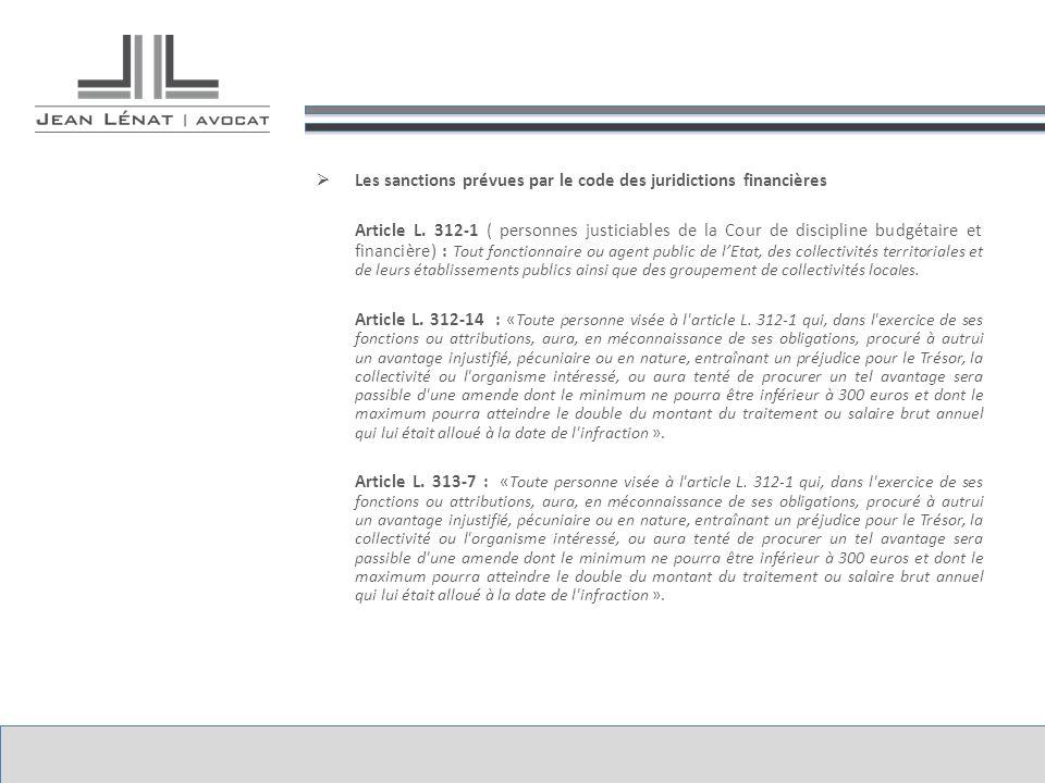 Les sanctions prévues par le code des juridictions financières