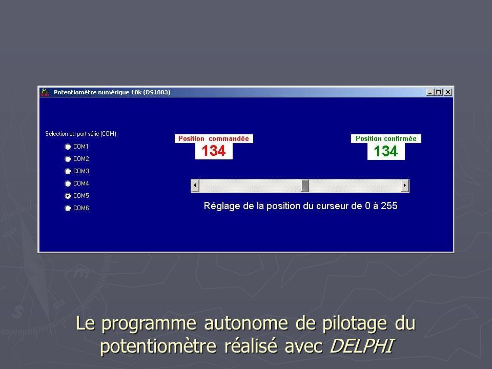 Le programme autonome de pilotage du potentiomètre réalisé avec DELPHI