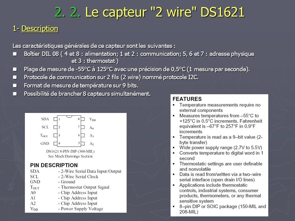 2. 2. Le capteur 2 wire DS1621 1- Description