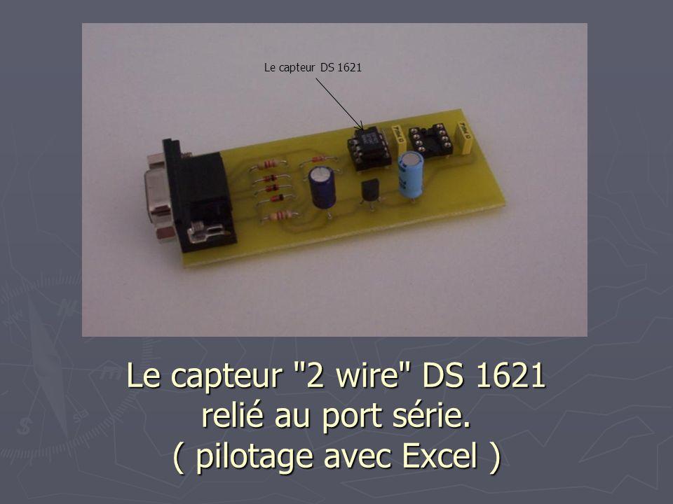 Le capteur DS 1621 Le capteur 2 wire DS 1621 relié au port série. ( pilotage avec Excel )
