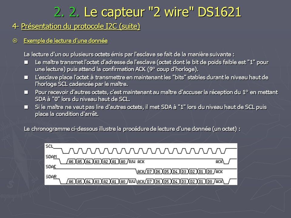 2. 2. Le capteur 2 wire DS1621 4- Présentation du protocole I2C (suite)  Exemple de lecture d une donnée.