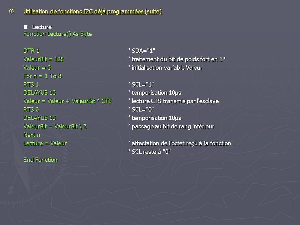  Utilisation de fonctions I2C déjà programmées (suite)