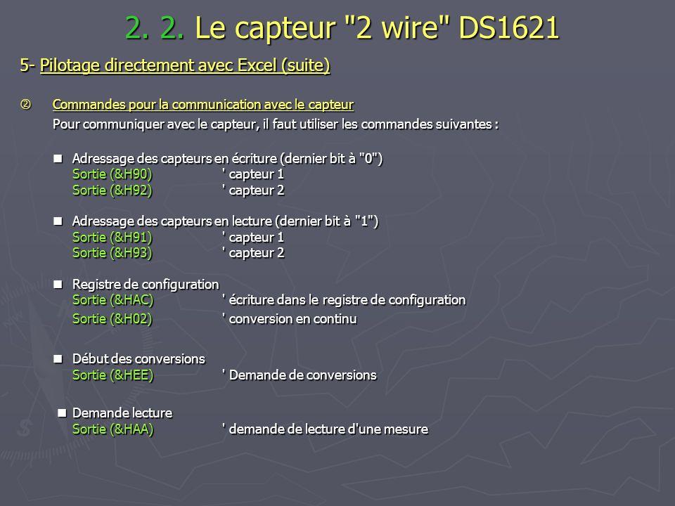 2. 2. Le capteur 2 wire DS1621 5- Pilotage directement avec Excel (suite)  Commandes pour la communication avec le capteur.