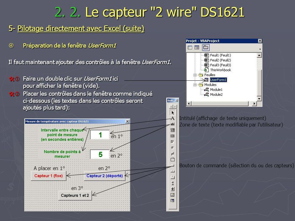 2. 2. Le capteur 2 wire DS1621 5- Pilotage directement avec Excel (suite)  Préparation de la fenêtre UserForm1.