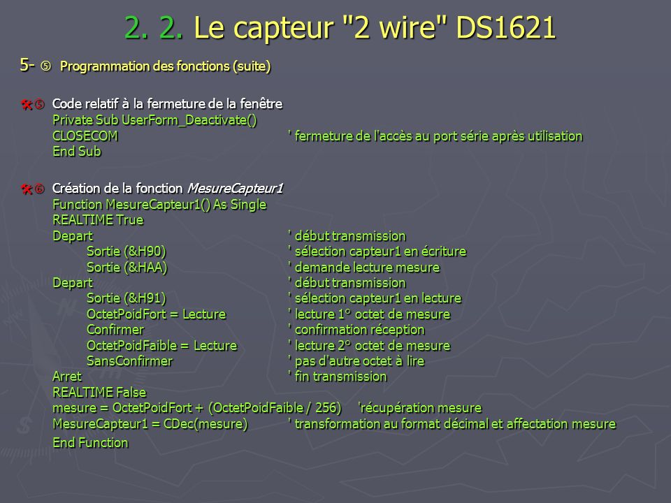 2. 2. Le capteur 2 wire DS1621 5-  Programmation des fonctions (suite)