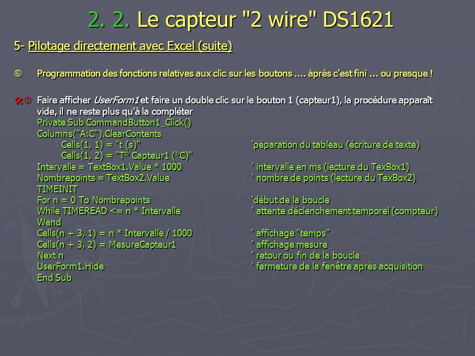 2. 2. Le capteur 2 wire DS1621 5- Pilotage directement avec Excel (suite)