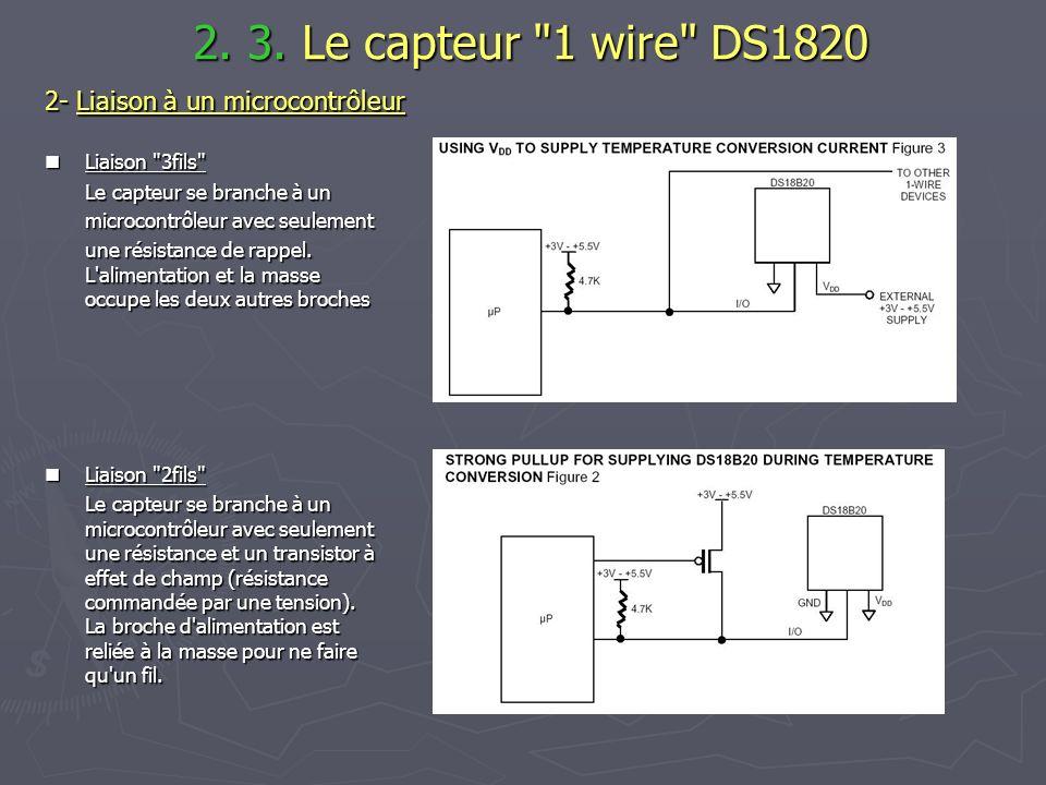 2. 3. Le capteur 1 wire DS1820 2- Liaison à un microcontrôleur