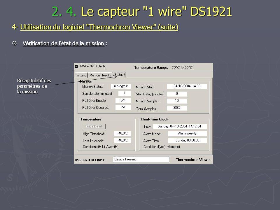 2. 4. Le capteur 1 wire DS1921 4- Utilisation du logiciel Thermochron Viewer (suite)  Vérification de l état de la mission :
