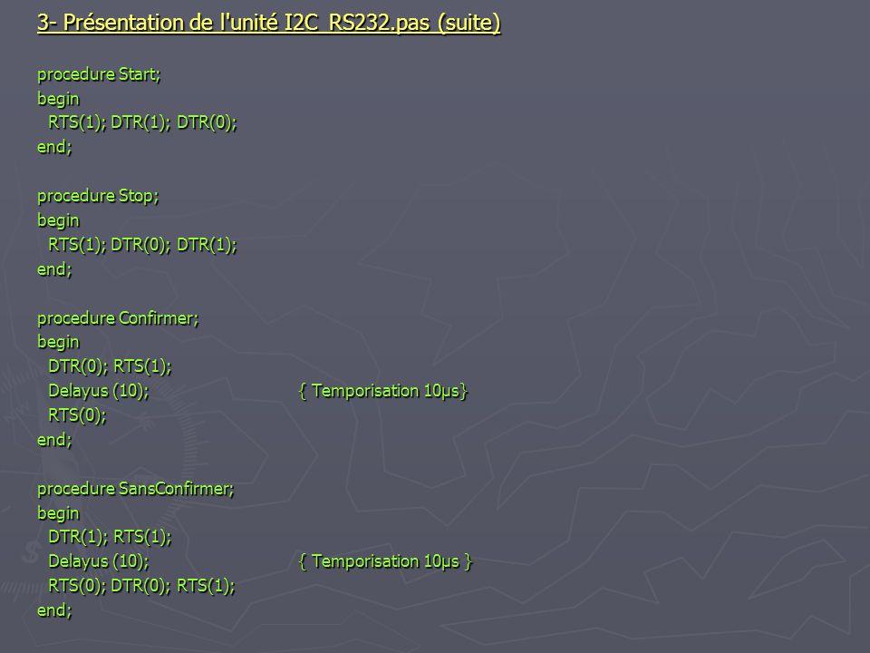 3- Présentation de l unité I2C_RS232.pas (suite)