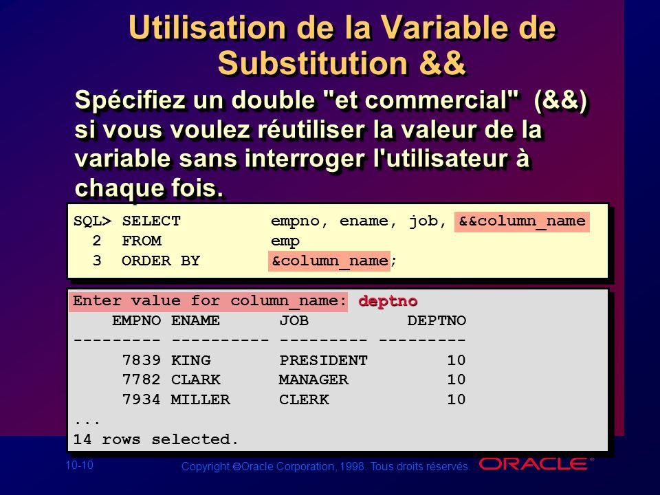 Utilisation de la Variable de Substitution &&