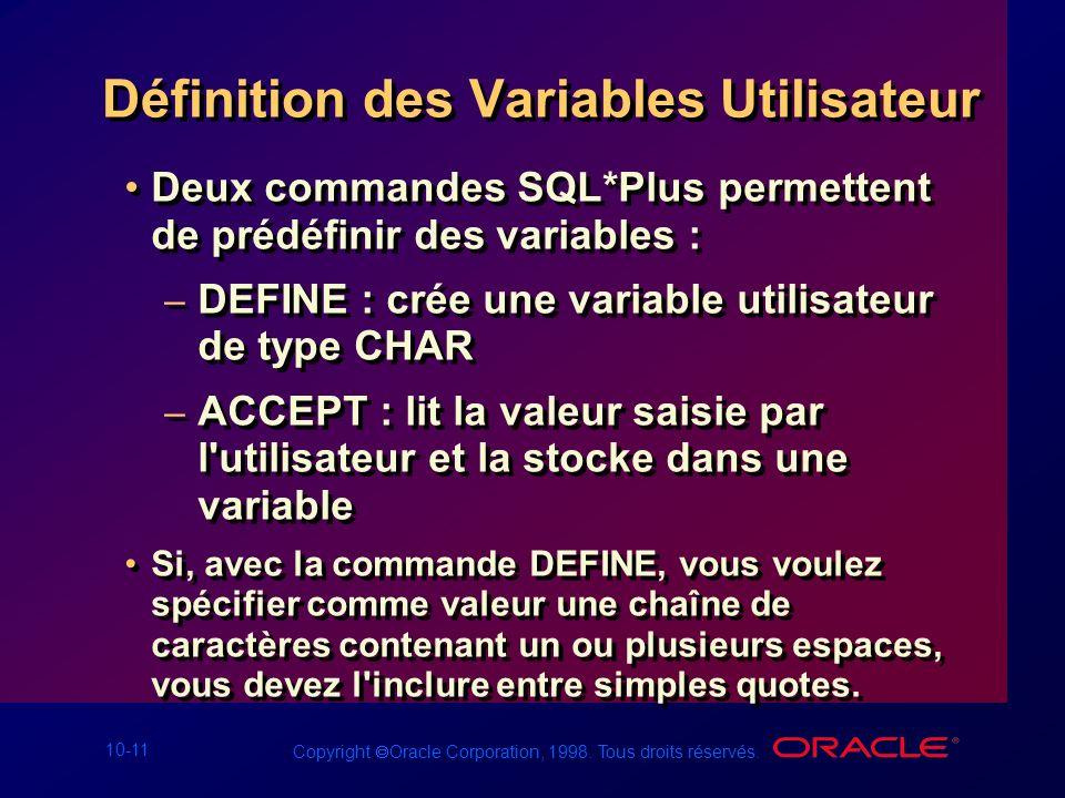 Définition des Variables Utilisateur