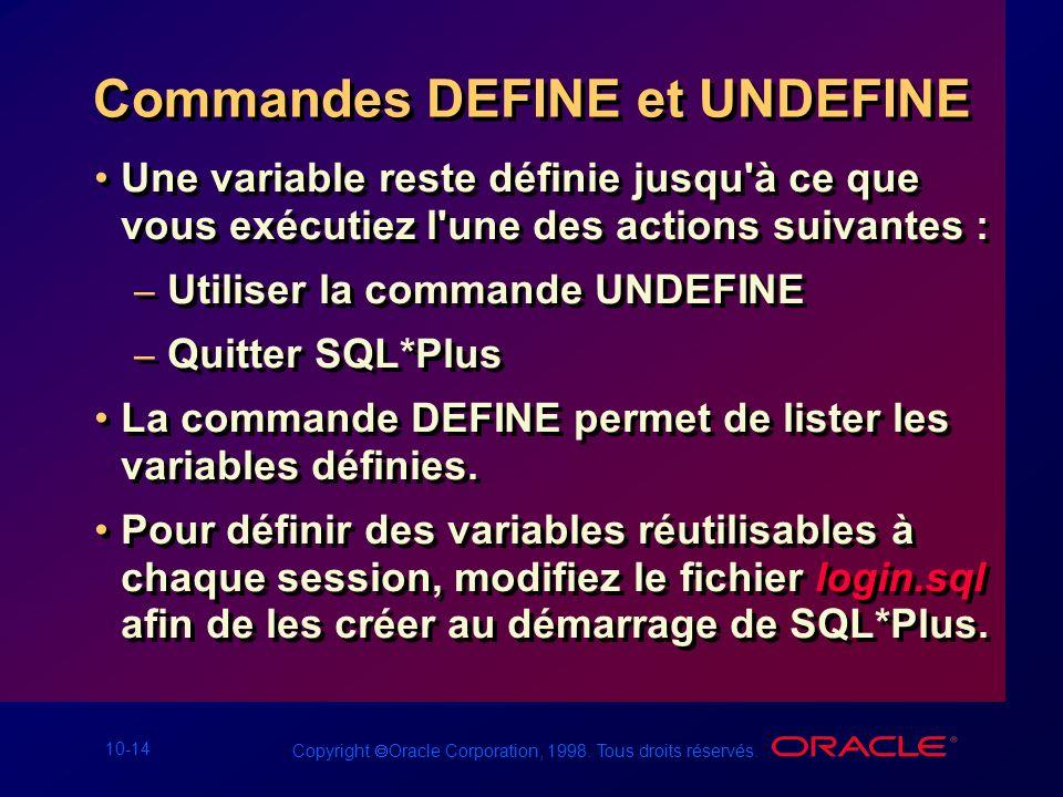 Commandes DEFINE et UNDEFINE