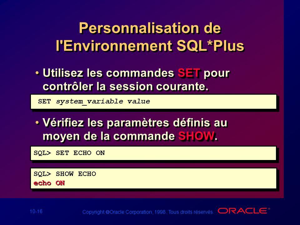 Personnalisation de l Environnement SQL*Plus