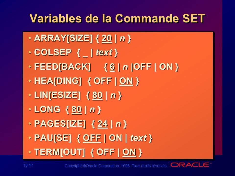 Variables de la Commande SET
