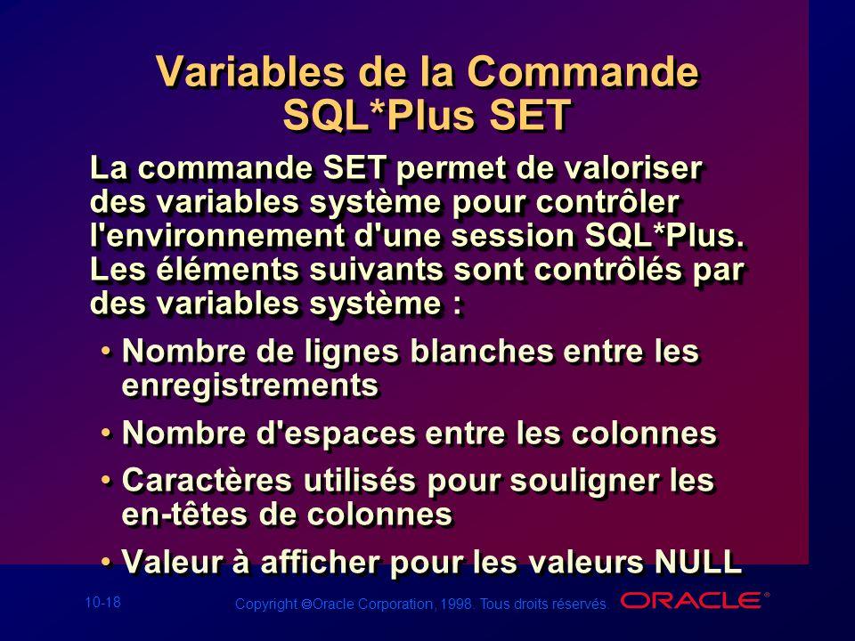 Variables de la Commande SQL*Plus SET
