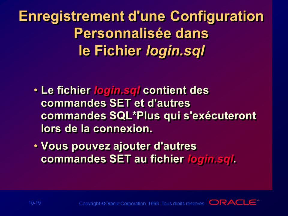 Enregistrement d une Configuration Personnalisée dans le Fichier login