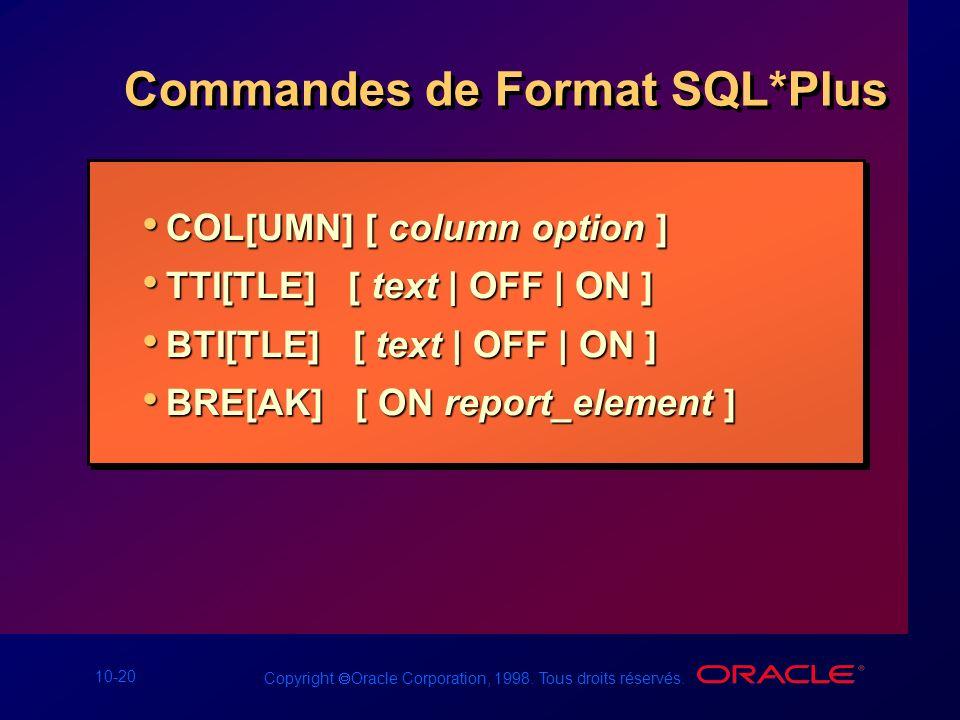 Commandes de Format SQL*Plus