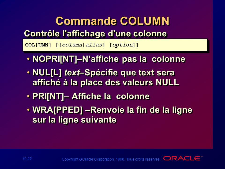 Commande COLUMN Contrôle l affichage d une colonne