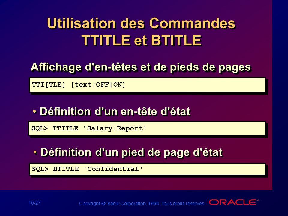 Utilisation des Commandes TTITLE et BTITLE