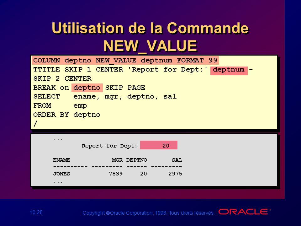 Utilisation de la Commande NEW_VALUE