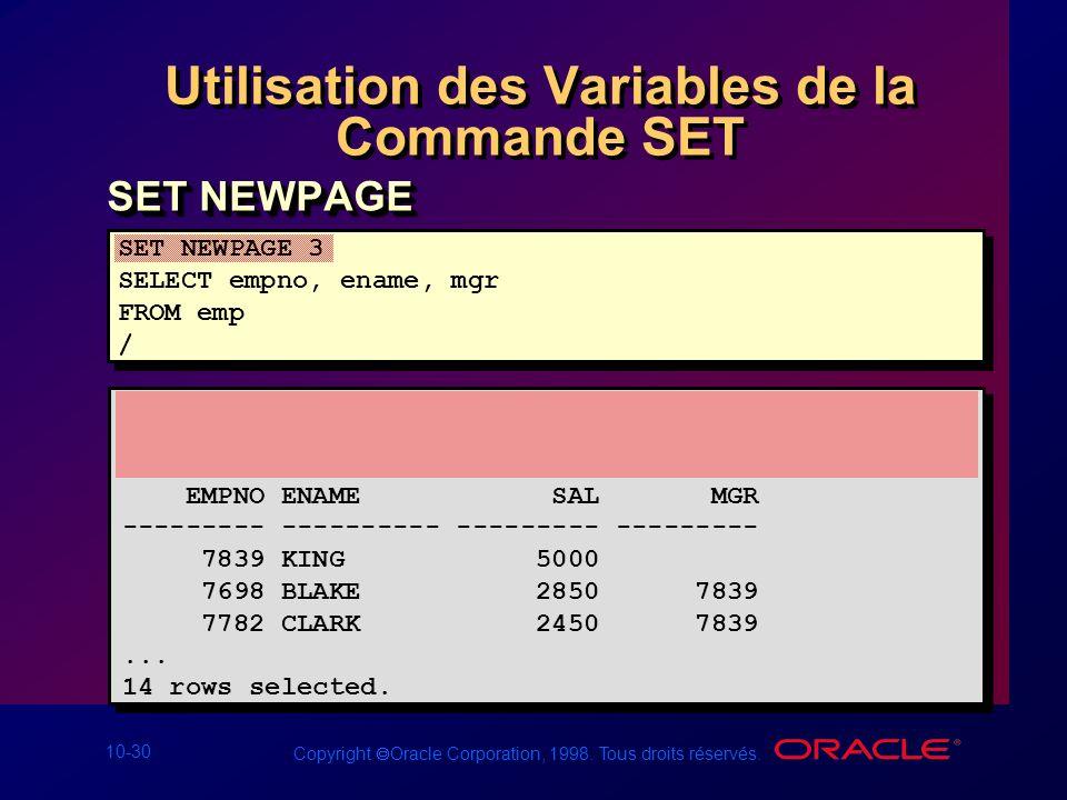 Utilisation des Variables de la Commande SET