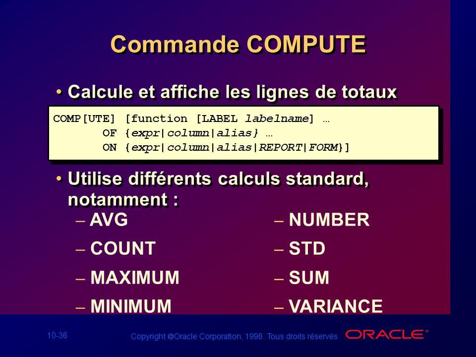 Commande COMPUTE Calcule et affiche les lignes de totaux