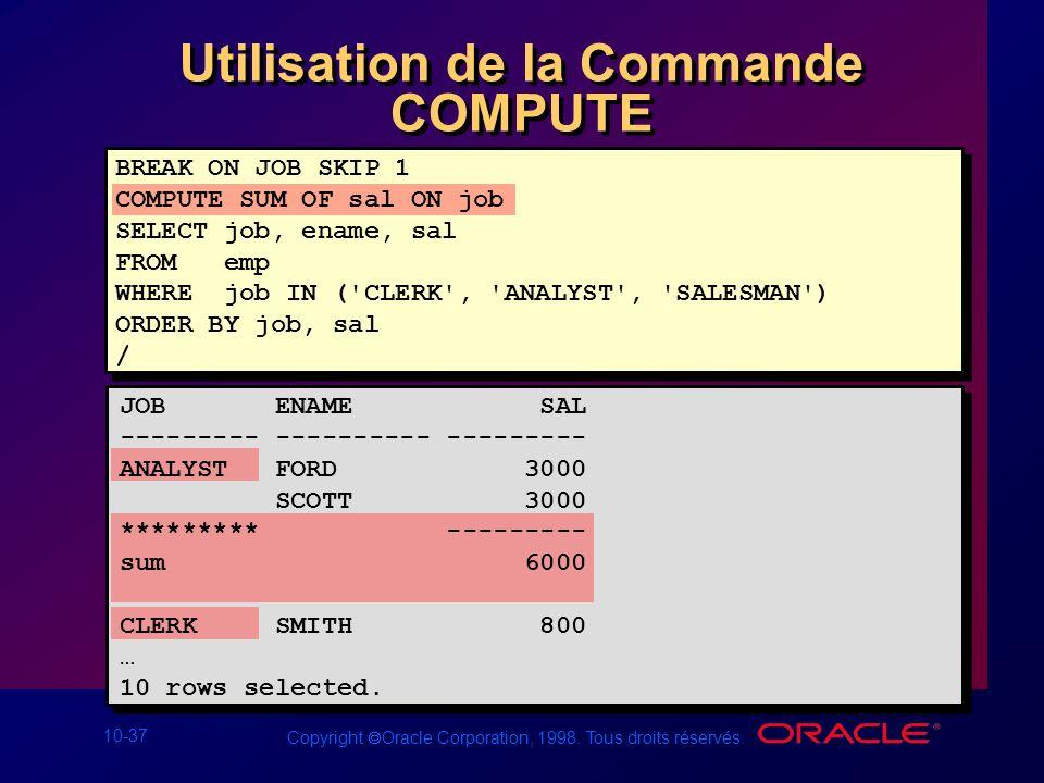 Utilisation de la Commande COMPUTE