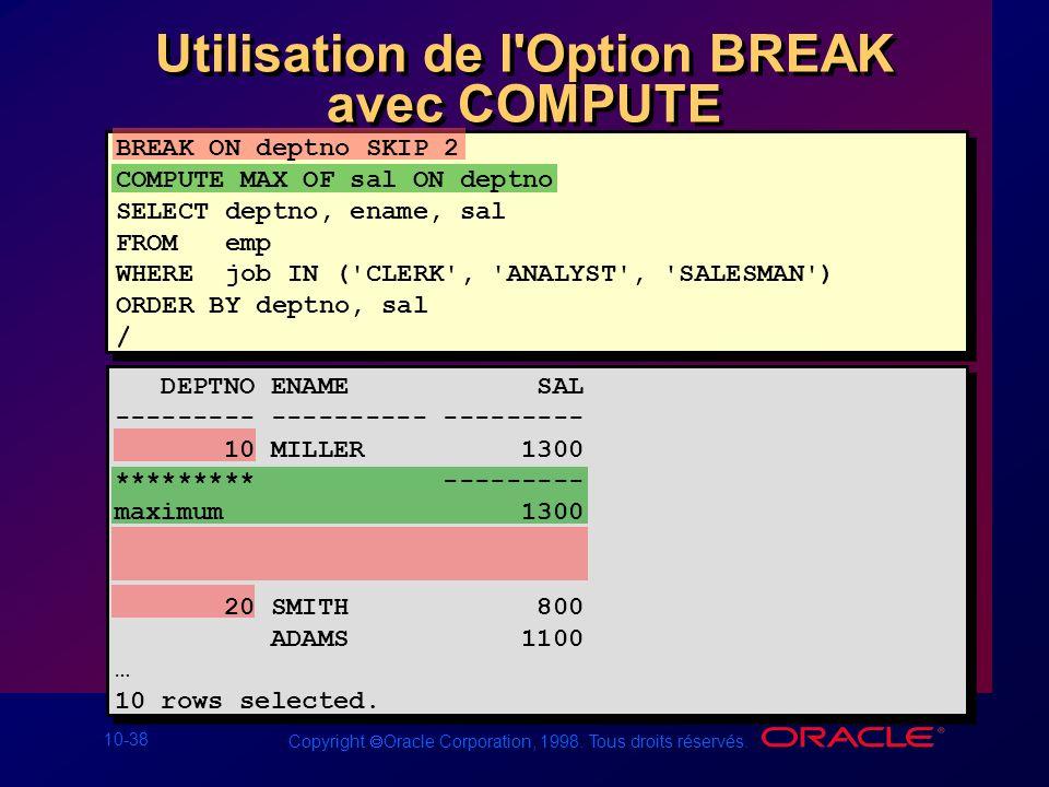 Utilisation de l Option BREAK avec COMPUTE