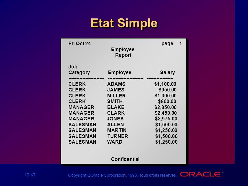 Etat Simple Fri Oct 24 page 1 Employee Report Job