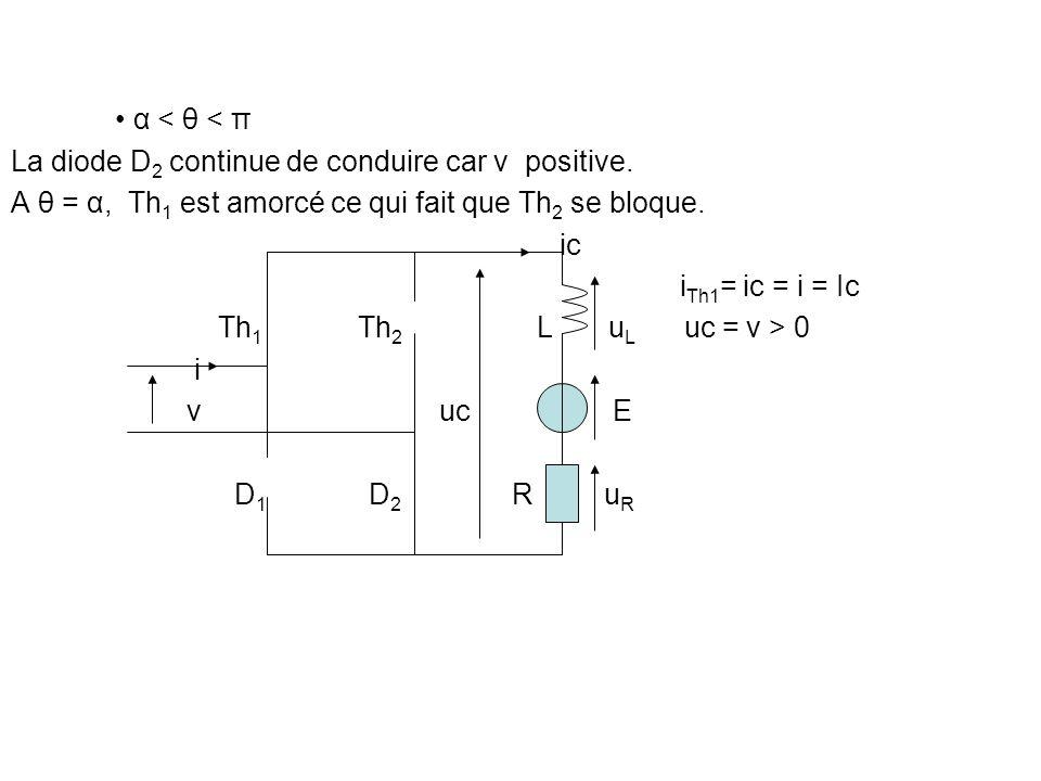 • α < θ < π La diode D2 continue de conduire car v positive. A θ = α, Th1 est amorcé ce qui fait que Th2 se bloque.