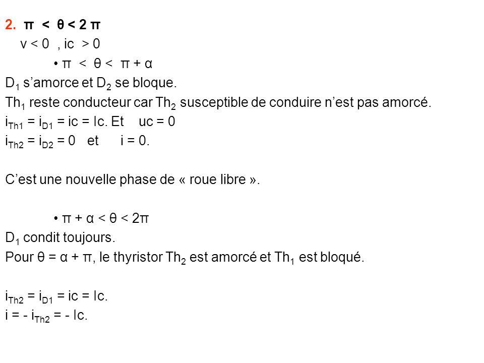 2. π < θ < 2 π v < 0 , ic > 0. • π < θ < π + α. D1 s'amorce et D2 se bloque.