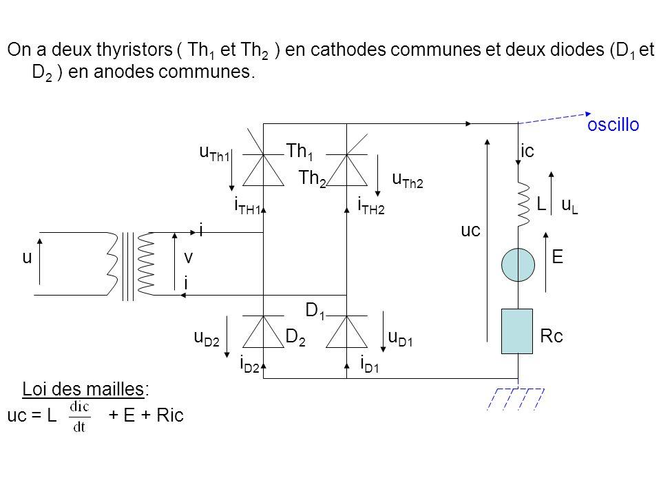 On a deux thyristors ( Th1 et Th2 ) en cathodes communes et deux diodes (D1 et D2 ) en anodes communes.