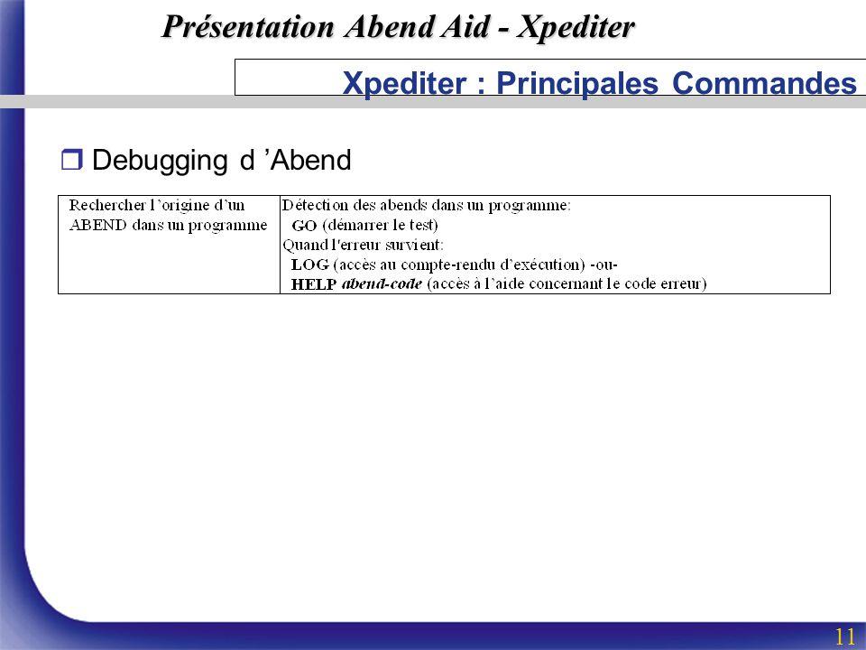 Xpediter : Principales Commandes