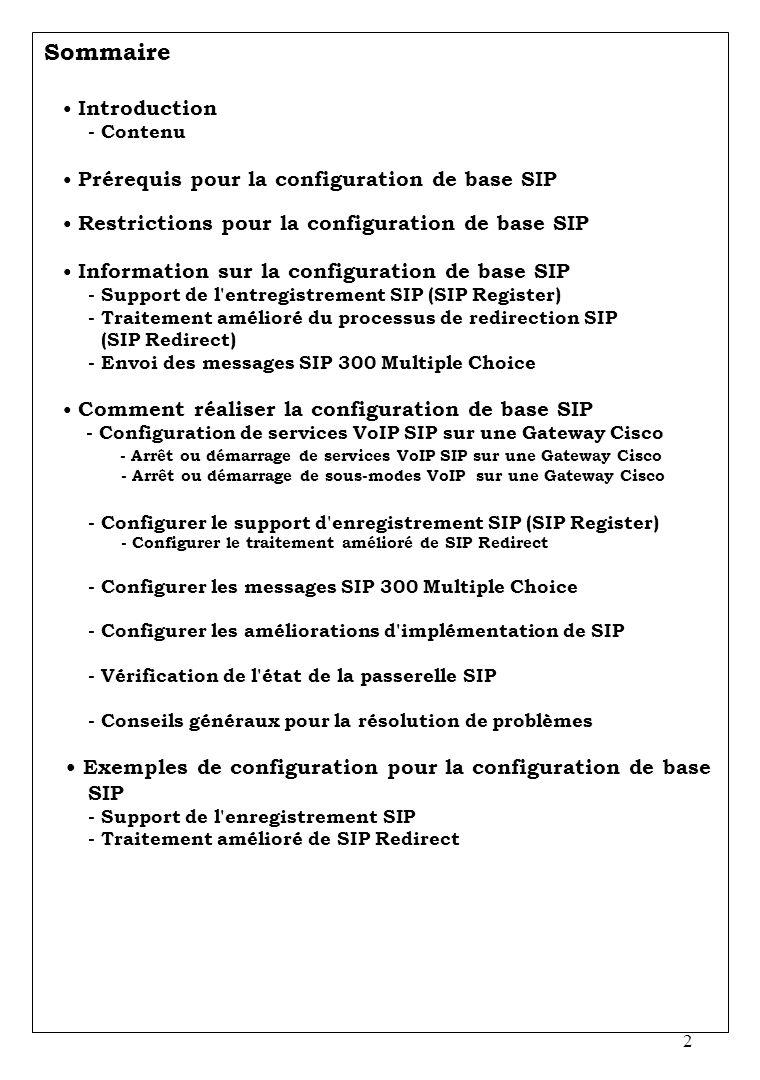 Sommaire • Exemples de configuration pour la configuration de base SIP