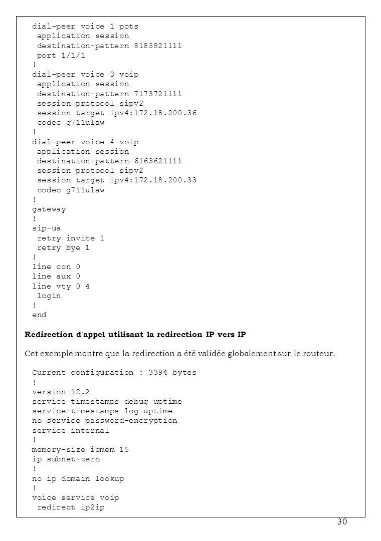 dial-peer voice 1 pots application session. destination-pattern 8183821111. port 1/1/1. ! dial-peer voice 3 voip.