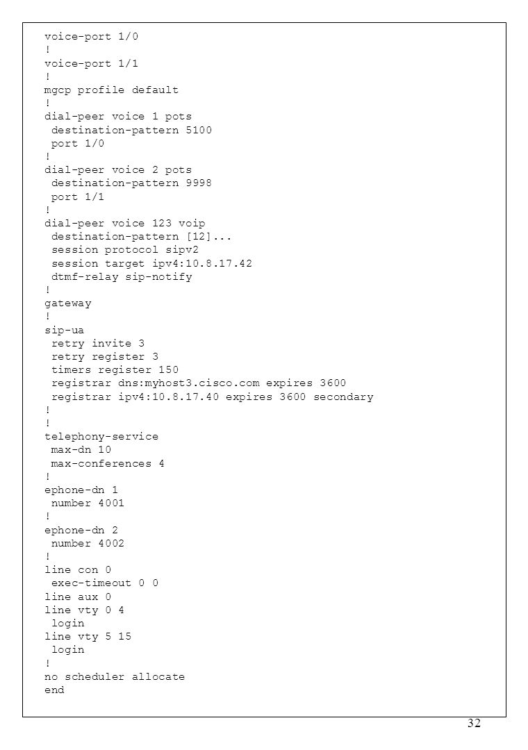 voice-port 1/0 ! voice-port 1/1. mgcp profile default. dial-peer voice 1 pots. destination-pattern 5100.