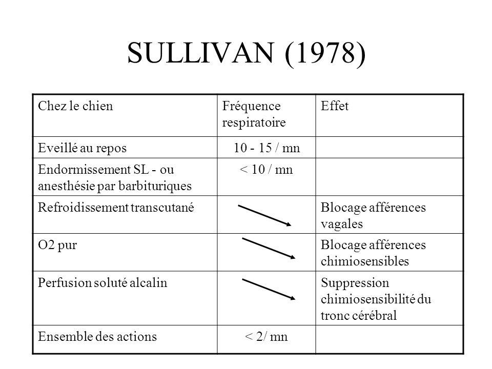 SULLIVAN (1978) Chez le chien Fréquence respiratoire Effet