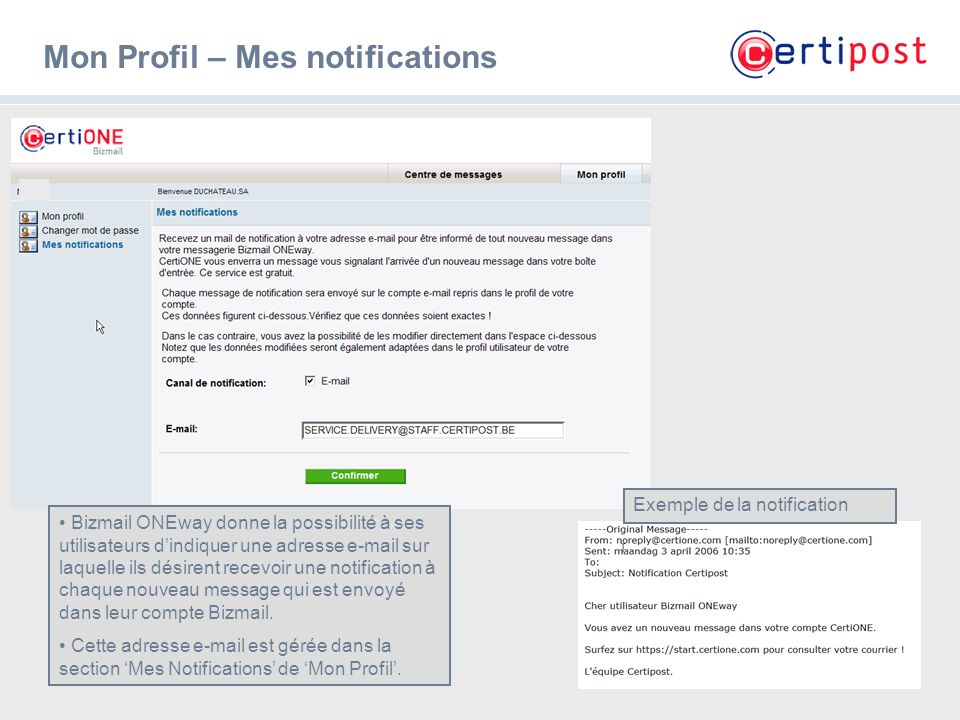 Mon Profil – Mes notifications