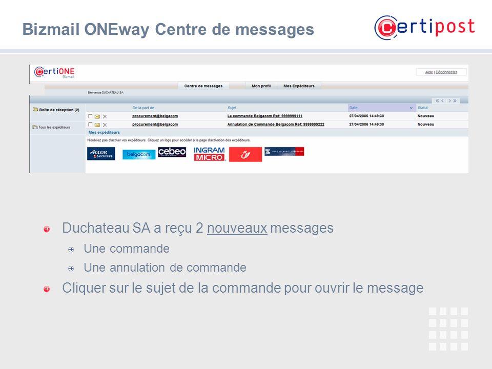 Bizmail ONEway Centre de messages