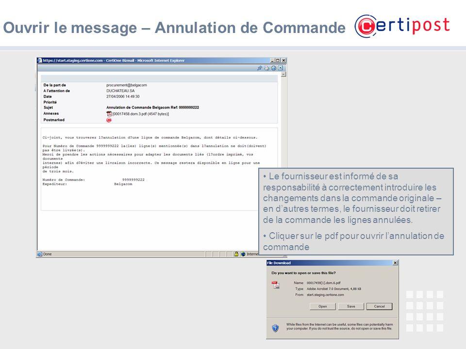 Ouvrir le message – Annulation de Commande