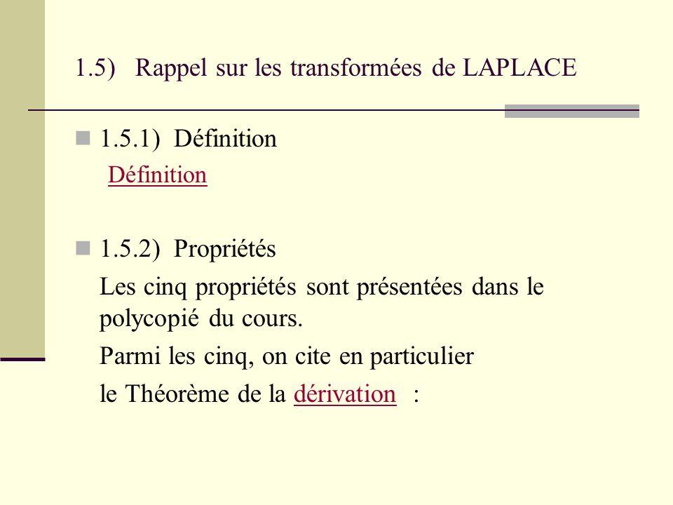 1.5) Rappel sur les transformées de LAPLACE
