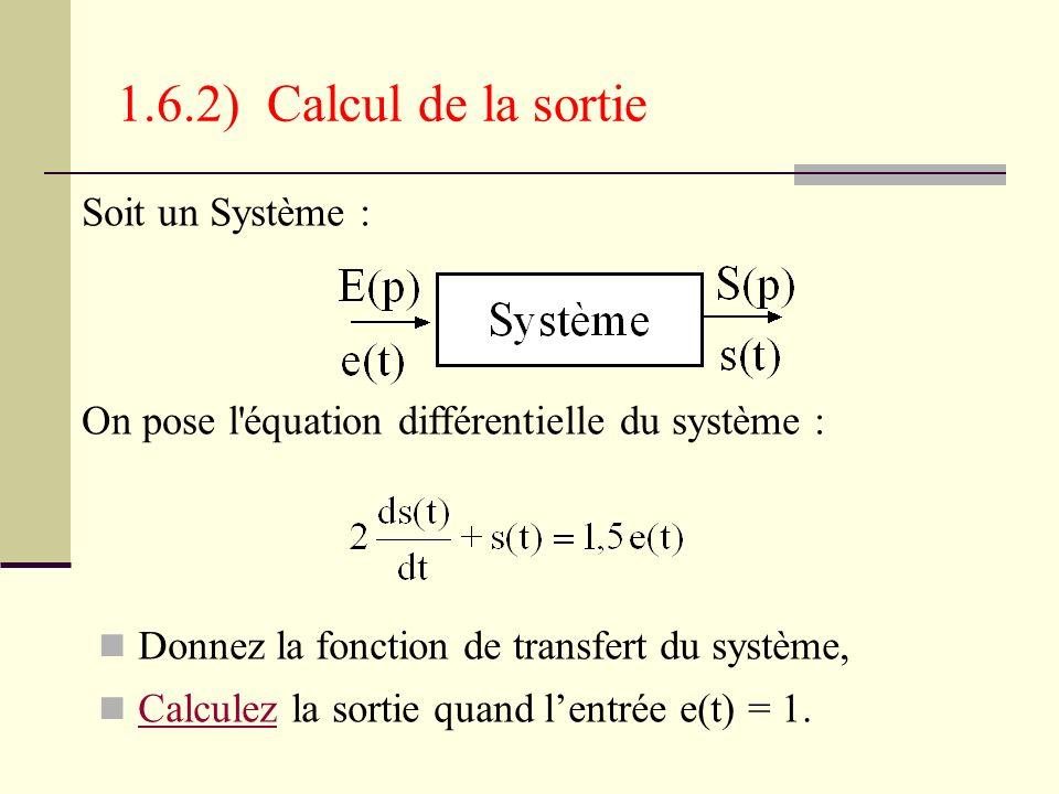 1.6.2) Calcul de la sortie Soit un Système :