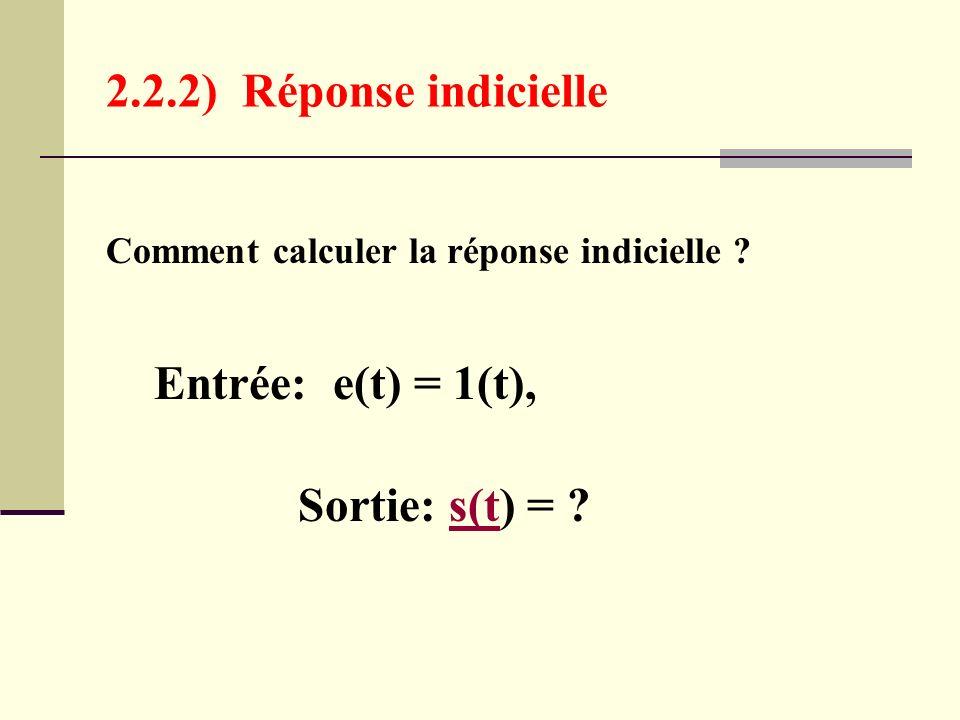 2.2.2) Réponse indicielle Entrée: e(t) = 1(t),
