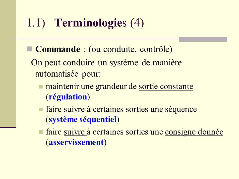 1.1) Terminologies (4) Commande : (ou conduite, contrôle)