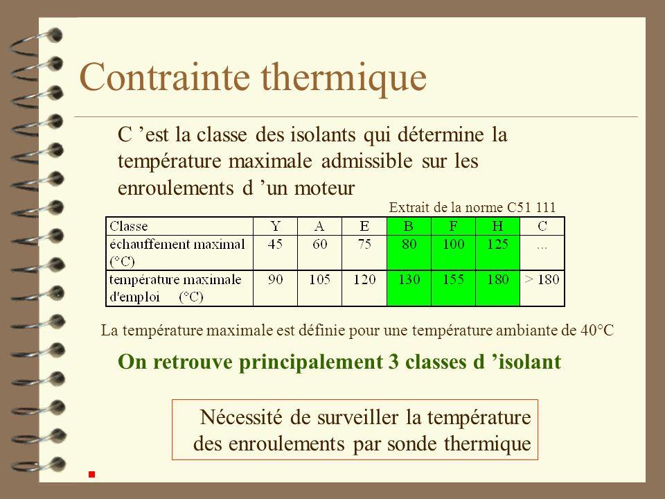 Contrainte thermique C 'est la classe des isolants qui détermine la température maximale admissible sur les enroulements d 'un moteur.