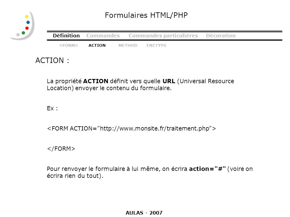 Formulaires HTML/PHP ACTION :